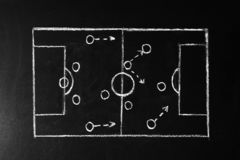Chalkboard with scheme of football game. Team play. And strategy vector illustration