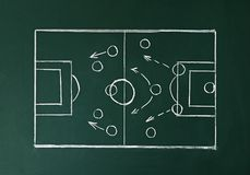 Chalkboard with scheme of football game. Team play. And strategy stock illustration