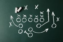 Chalkboard with scheme of football game. Top view royalty free stock photos