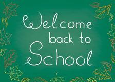 Chalkboard school board Welcome back to School, drawings by autumn leaves chalk EPS 10 Stock Image
