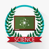 Chalkboard science biology atom emblem Royalty Free Stock Photos