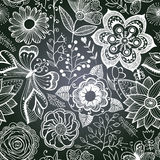 Chalkboard seamless floral pattern. Copy that square to the sid Royalty Free Stock Photo