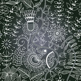 Chalkboard seamless floral pattern. Copy that square to the sid Stock Image