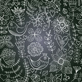 Chalkboard seamless floral pattern. Copy that square to the sid Stock Photo