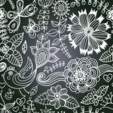 Chalkboard seamless floral pattern. Copy that square to the sid Royalty Free Stock Image