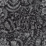 Chalkboard seamless floral pattern. Copy that square to the side Stock Photos