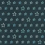 Chalkboard seamless pattern with hand drawn stars. Repeating texture with doodle symbols on blackboard Royalty Free Stock Photos