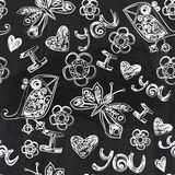 Chalkboard seamless valentine pattern. Copy that square to the s Royalty Free Stock Photo