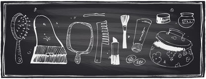 Chalkboard set of beauty symbols. Stock Photo