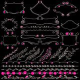 Chalkboard  set of hand drawn floral graphic design elements frame, divider and lines border. Royalty Free Stock Photo