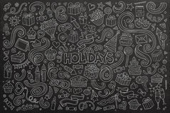 Chalkboard set of holidays objects Royalty Free Stock Images