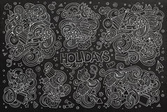 Chalkboard set of holidays objects Royalty Free Stock Image