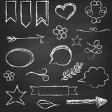 Chalkboard with several elements. Chalkboard background with several elements. Vector illustration Royalty Free Stock Image