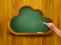 Chalkboard in a shape of a cloud. E-learning concept. Stock Photo