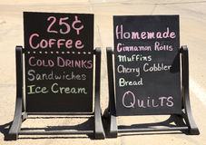 Chalkboard shop advert signs stock photography
