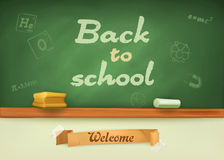 Chalkboard  with sign back to school Royalty Free Stock Images