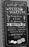 Chalkboard sign for brunch and cocktails Royalty Free Stock Photos