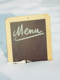 Menu Sign in Snow Stock Image