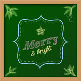 Chalkboard sign with text. Chalkboard christmas sign with text  merry and bright, vector illustration, eps 10 with transparency Royalty Free Stock Image