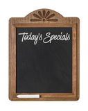 Chalkboard sign on a white background - Todays Specials. A chalkboard sign on a white background - Todays Specials Royalty Free Stock Photos