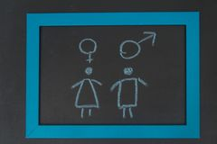 Sign a woman, a man chart, sexually active, frigid on the chalk. On the chalkboard sign woman, man graphic, sexually active, frigid stock photo