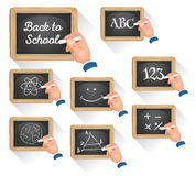 Chalkboard Signs For School Reentry. Illustration of a set of cartoon school chalkboard signs, with teacher's hand drawing concept and topics, for science, happy Stock Images