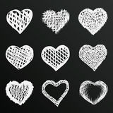 Chalkboard sketch of hand drawn hearts set, template design element, Vector illustration Royalty Free Stock Photos