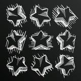 Chalkboard sketch of hand drawn star set, template design element, Vector illustration Royalty Free Stock Image