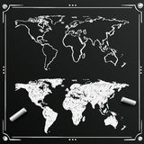 Chalkboard sketch of hand drawn World map, template design element, Vector illustration Royalty Free Stock Photo