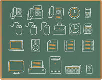 Chalkboard Sketch icon - office. Illustration of Office icon set on chalkboard Royalty Free Stock Images