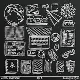 Chalkboard sketch work style set icon, 2. Vector illustration Royalty Free Stock Images
