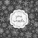 Chalkboard snowflakes black and white frame Stock Images