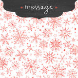 Chalkboard snowflakes frame border seamless. Vector chalkboard snowflakes frame border seamless pattern background with drawn snowflakes on light sky background Royalty Free Stock Images