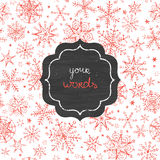 Chalkboard snowflakes frame seamless pattern Royalty Free Stock Photo