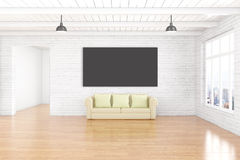 Chalkboard and sofa in room. Interior design with empty chalkboard on white brick wall, wooden floor, ceiling, couch and window with city view. Mock up, 3D Stock Image