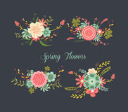 Chalkboard Spring Flowers Royalty Free Stock Image