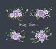 Chalkboard Spring purple Flowers Royalty Free Stock Photos