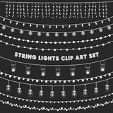 Chalkboard String Lights Set Royalty Free Stock Images