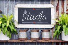 Chalkboard studio sign stock photo