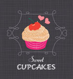 Chalkboard style poster with cupcake Stock Photo