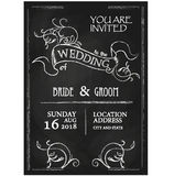 Chalkboard style vintage wedding invitation card Stock Photos