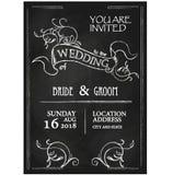 Chalkboard style vintage wedding invitation card. On blackboard background Stock Photos
