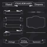 Chalkboard Stylowi sztandary, faborki i ramy, royalty ilustracja