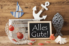Chalkboard With Summer Decoration, Alles Gute Means Best Wishes Royalty Free Stock Images