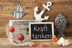 Chalkboard With Summer Decoration, Kraft Tanken Means Relax Royalty Free Stock Images