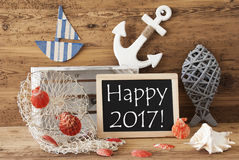 Chalkboard With Summer Decoration, Text Happy 2017 Stock Photography