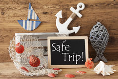 Chalkboard With Summer Decoration, Text Safe Trip Stock Photo