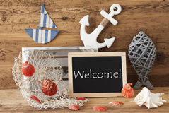 Chalkboard With Summer Decoration, Text Welcome Stock Photo