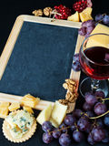 Chalkboard surrounded by different food Royalty Free Stock Photography