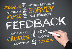 Chalkboard survey buzzwords. Chalkboard with various customer satisfaction and feedback buzzwords Royalty Free Stock Photography